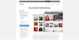 Eingangsbereich von Apple's iTunes