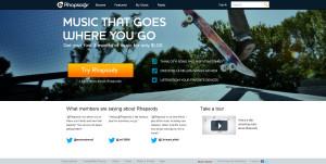 Screenshot der Rhapsody Startseite